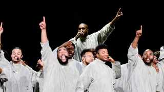 Kanye West, top centre, performs with the Sunday Service Choir at the annual Strength to Stand Youth Conference at the LeConte Center in Pigeon Forge, Tenn., Sunday, Jan. 19, 2020. Picture: Calvin Mattheis/Knoxville News Sentinel via AP