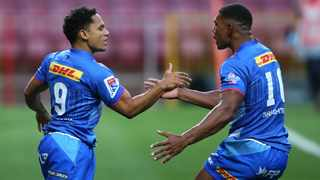Stormers scrumhalf Herschel Jantjies is congratulated by Damian Willemse after scoring the opening try during their Super Rugby Unlocked match against the Cheetahs at Newlands Stadium in Cape Town on Saturday. Photo: Shaun Roy/BackpagePix
