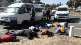 Nine suspects were arrested after two firearms were discovered in a minibus taxi en route to Cape Town. Picture: SAPS