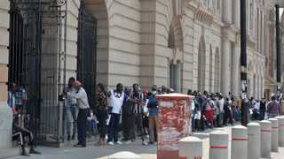 Long queues at the post office in Church Square of people wanting to access the government;s SRD grant. Picture: Oupa Mokoena/African News Agency (ANA)