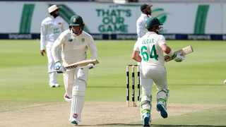 South Africa's Rassie van deer Dussen (left) and Dean Elgar take a run during Day 1 of the second Test against Sri Lanka at the Wanderers Stadium in Johannesburg on Sunday. Photo: Muzi Ntombela/BackpagePix
