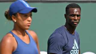Jermaine Jenkins, coach of the Naomi Osaka of Japan, looks on as she practices on stadium court to get ready for the BNP Paribas Open at the Indian Wells Tennis Garden. Photo: Jayne Kamin-Oncea-USA TODAY Sports