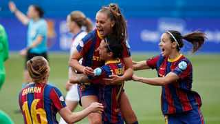 Barcelona's Lieke Martens celebrates with teammates after scoring the first of her two goals in their Women's Champions League semi-final second leg against Paris St Germain on Sunday. Photo: Albert Gea/Reuters