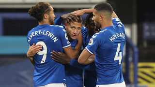 Everton's Richarlison celebrates with teammates after scoring against Southampton. Picture: Clive Brunskill/EPA
