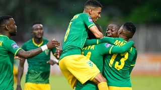 Golden Arrows' Nduduzo Sibiya celebrates with team-mates after scoring the equalising goal in their DStv Premiership clash against Kaizer Chiefs at Sugar Ray Xulu Stadium in Durban on Saturday. Photo: Gerhard Duraan/BackpagePix