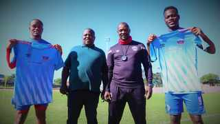 Chippa's Siviwe Mpengesi and coach Lehlohonolo Seema formally unveiled Eva Nga Bienvenu and Riaan Hanamub as two Chippa United's new signings today. Photo: Chippa United/Facebook