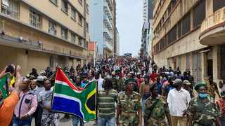 MK veterans march through the streets of Durban, demanding the removal of foreigners. Picture: Sakhiseni Nxumalo