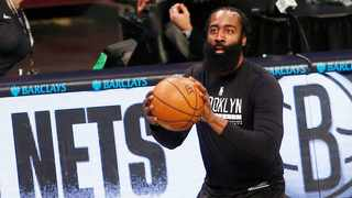Mar 29, 2021; Brooklyn, New York, USA; Brooklyn Nets guard James Harden (13) warms up prior to the game against the Minnesota Timberwolves at Barclays Center. Mandatory Credit: Andy Marlin-USA TODAY Sports