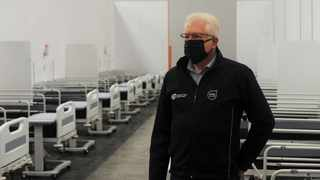 Western Cape Premier Alan Winde on a visit to the temporary field hospital at the Cape Town International Convention Centre today. Photographer: Armand Hough/African News Agency(ANA)