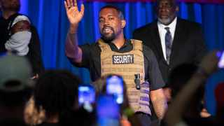 Kanye West makes his first presidential campaign appearance in North Charleston, S.C. on Sunday. Picture: Lauren Petracca Ipetracca/The Post And Courier via AP