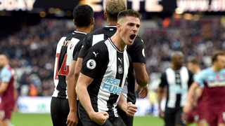 Newcastle United's Ciaran Clark celebrates scoring against West Ham United during their English Premiership League match at The London Stadium on Saturday. Photo: Daniel Hambury/AP