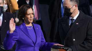 Kamala Harris is sworn in as U.S. Vice President as her spouse Doug Emhoff holds a bible during the inauguration of Joe Biden as the 46th President of the United States on the West Front of the US Capitol in Washington. Picture: Kevin Lamarque/Reuters