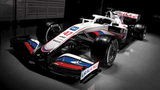 The US owned Haas Formula One team presented its 2021 car in Russian colours on Thursday with potash producer Uralkali, owned by the billionaire father of new Russian driver Nikita Mazepin, joining as title sponsor. Photo: @HaasF1Team