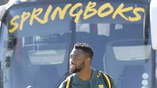 New Springbok Captain Siya Kolisi leads the team out prior to their first training session in Johannesburg. Kolisi will become the 61st Springbok captain and he will also become the first black South African to lead the Boks in a Test match. Photo: Kim Ludbrook/EPA