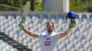 Pieter Malan of the Cobras celebrates his 250 during day 3 of their CSA 4-Day game against the Knights at Newlands Cricket Ground in Cape Town on Thursday. Photo: RyanWilkisky/BackpagePix