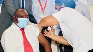 President Cyril Ramaphosa joins healthcare workers as they receive Coronavirus Vaccination as part of the government's vaccination roll out strategy, taking place at the Khayelitsha District Hospital in Cape Town. Picture: Siyabulela Duda/GCIS