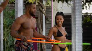 Durang Atembe with Thimna at the villa in 'Love Island SA'. Picture: Supplied