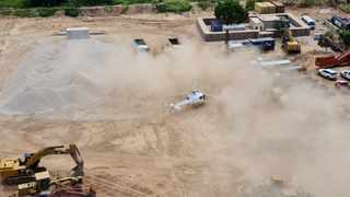 A Dyck Advisory Group helicopter lands in Palma, Mozambique in this picture taken between March 24 and March 27, 2021. Picture: Dyck Advisory Group/Handout via Reuters