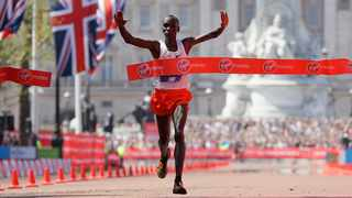 Kenya's Eliud Kipchoge reacts after crossing the finish line to win the Men's race in the London Marathon in central London, Sunday, April 22, 2018. Photo: AP Photo/Kirsty Wigglesworth
