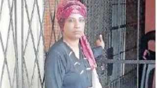 Fazila Hoosen outside the the bachelor flat she lived in at Tamasha Court for two years. Picture: Supplied.
