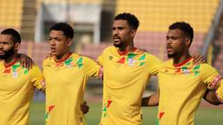 Benin players sing national anthem during the 2021 Africa Cup of Nations Qualifier against Nigeria at Stade Charles de Gaulle, Porto-Novo, Benin. Photo: BackpagePix
