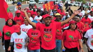 """The EFF march against police """"corruption"""" in Winterveld. Picture: Oupa Mokoena/African News Agency (ANA)"""