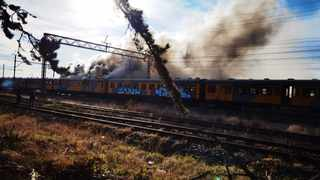 Metrorail train caught fire. Picture Supplied