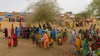 Sudanese displaced women gather at the Zam Zam refugee camp just outside the town of El-Fashir in the Darfour region of Sudan. File picture: Karel Prinsloo/AP