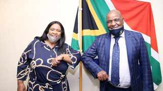 Newly-appointed Independent Police Investigative Directorate (Ipid) executive director Jennifer Ntlatseng with the KZN member of the executive council for transport Bheki Ntuli. Picture: Ipid