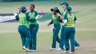 The South Africa Women celebrate a wicket during their game against Pakistan at Kingsmead in Durban. Photo: Steve Haag/ BackpagePix
