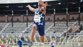 Ruswahl Samaai of South Africa won the men's long jump competition in Stockholm. Picture: Christine Olsson/AP