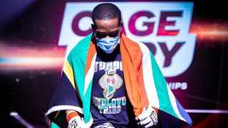 Phumelele Nkuta wears his South African flag proudly before every fight. Picture: Supplied.