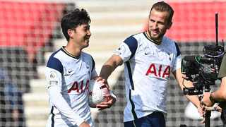 Tottenham Hotspur's Son Heung-min walks off with the match ball after scoring four goals and setting up another in their Premier League clash against Southampton on Sunday. Photo: Justin Tallis/Reuters