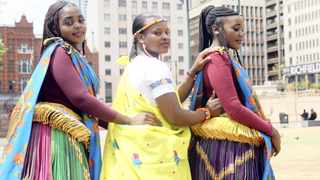Mercy Chauke, Shylet Chauke and Antonia Nkuna proudly show off their Tsonga traditional attire at Church Square. South Africans commemorate the annual Heritage Day - a public holiday - tomorrow. Jacques Naude African News Agency (ANA)