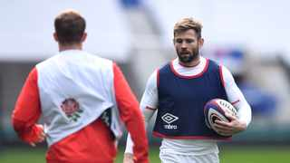 FILE - England's Elliot Daly carries the ball during a training session. Photo: Glyn Kirk/Reuters