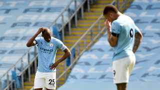 Manchester City's Fernandinho and Gabriel Jesus look dejected after Leeds United's Stuart Dallas scored the winning goal in their Premier League clash on Saturday. Photo: Rui Vieira/Reuters