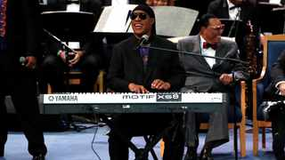 Stevie Wonder performs at the funeral service for the late singer Aretha Franklin at the Greater Grace Temple in Detroit. Picture: Mike Segar/Reuters