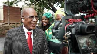 Andrew Mlangeni cracks ajoke after voting in Kenilworth in 2019. Picture Ian Landsberg/African News Agency (ANA)