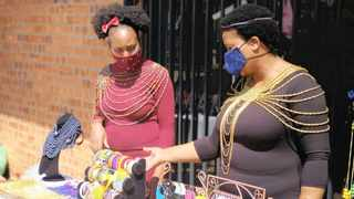 Phindile Msiza and Rinah Mtshwene of Mamelodi showcasing their crafts at the Mams Mall Heritage Day Market. Picture: Jonisayi Maromo