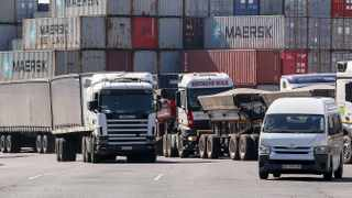 South Africa - Durban - 11 August 2020 - Trucks wait to get the Durban Harbour container terminals in the area. Picture Leon Lestrade/African News Agency(ANA)