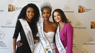 Miss South Africa 2020 and runners up Natasha Joubert second princess and Thato Mosehle as first princess. Picture: Phando Jikelo/African News Agency(ANA) .