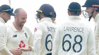England's Jack Leach was getting considerable turn on the crumbling surface and looked threatening with virtually every ball. Picture: @englandcricket via Twitter