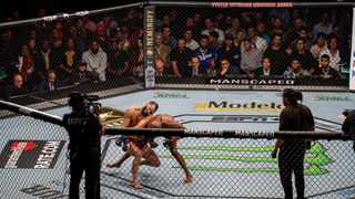 Kamaru Usman lands a clean KO on Jorge Masvidal during their UFC261 main event in Jacksonville, Florida thiso past weekend. Picture: UFC