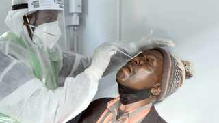 A Covid-19 test is conducted in the Pretoria CBD. Picture: Oupa Mokoena African News Agency (ANA)