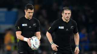 FILE - New Zealand Richie McCaw (L) and Dan Carter (R) in action during the Rugby World Cup 2015 Final against Photo: Facundo Arrizabalaga/EPA