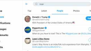 Screenshot of the 'loser' search on Twitter