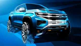 An official design sketch of the next-generation Volkswagen Amarok, which will share a platform with the next Ford Ranger.