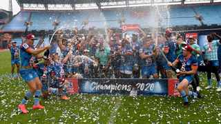 The Blue Bulls' players celebrate winning the Super Rugby Unlocked title after their match against the Pumas at Loftus Versfeld on Saturday. Photo: Lee Warren/Gallo Images via BackpagePix