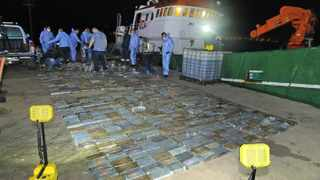 Various tactical forces descending on the vessel where 973 blocks of compressed cocaine (estimated at R583 million) were found. Picture: SAPS Supplied