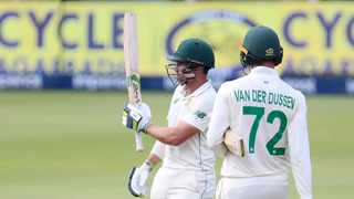 Dean Elgar of South Africa celebrates his half century with Rassie van der Dussen on Day 1 of the second Test against Sri Lanka at the Wanderers in Johannesburg. Photo: Muzi Ntombela/BackpagePix
